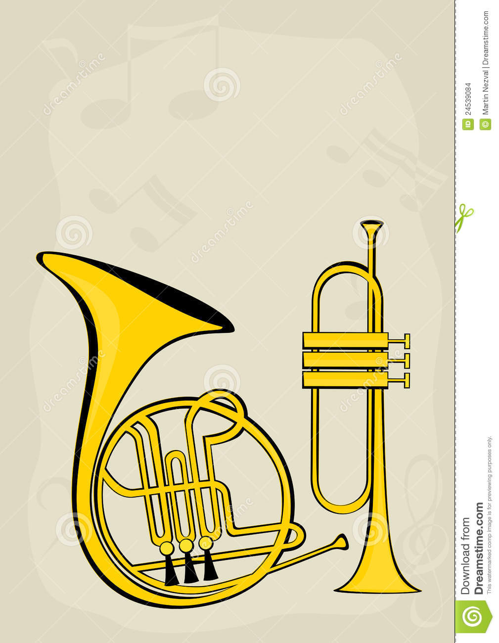 french horn trumpet and notes stock vector illustration