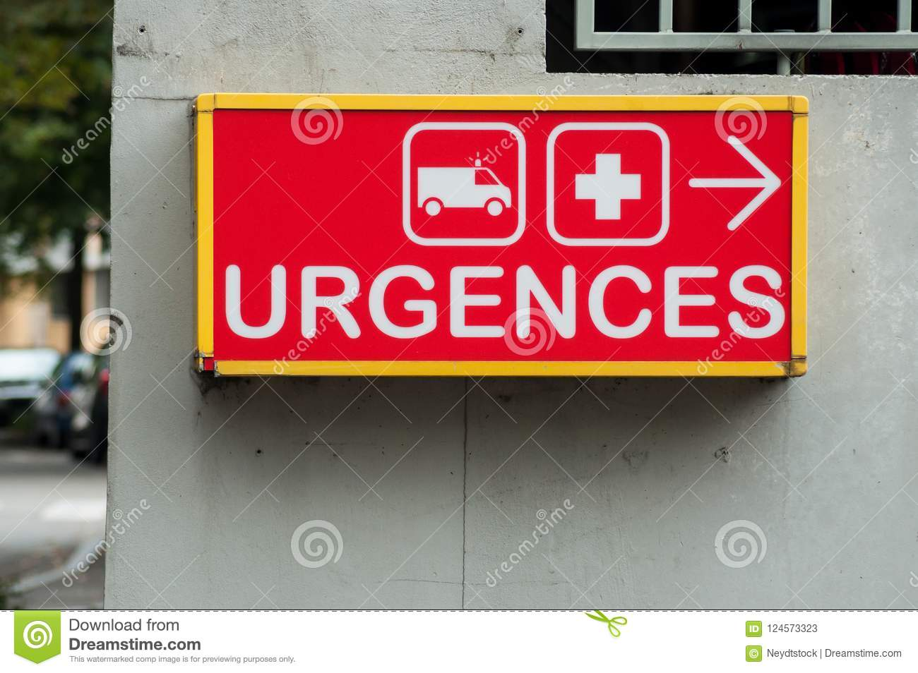 french hospital emergency entry sign with text in fre