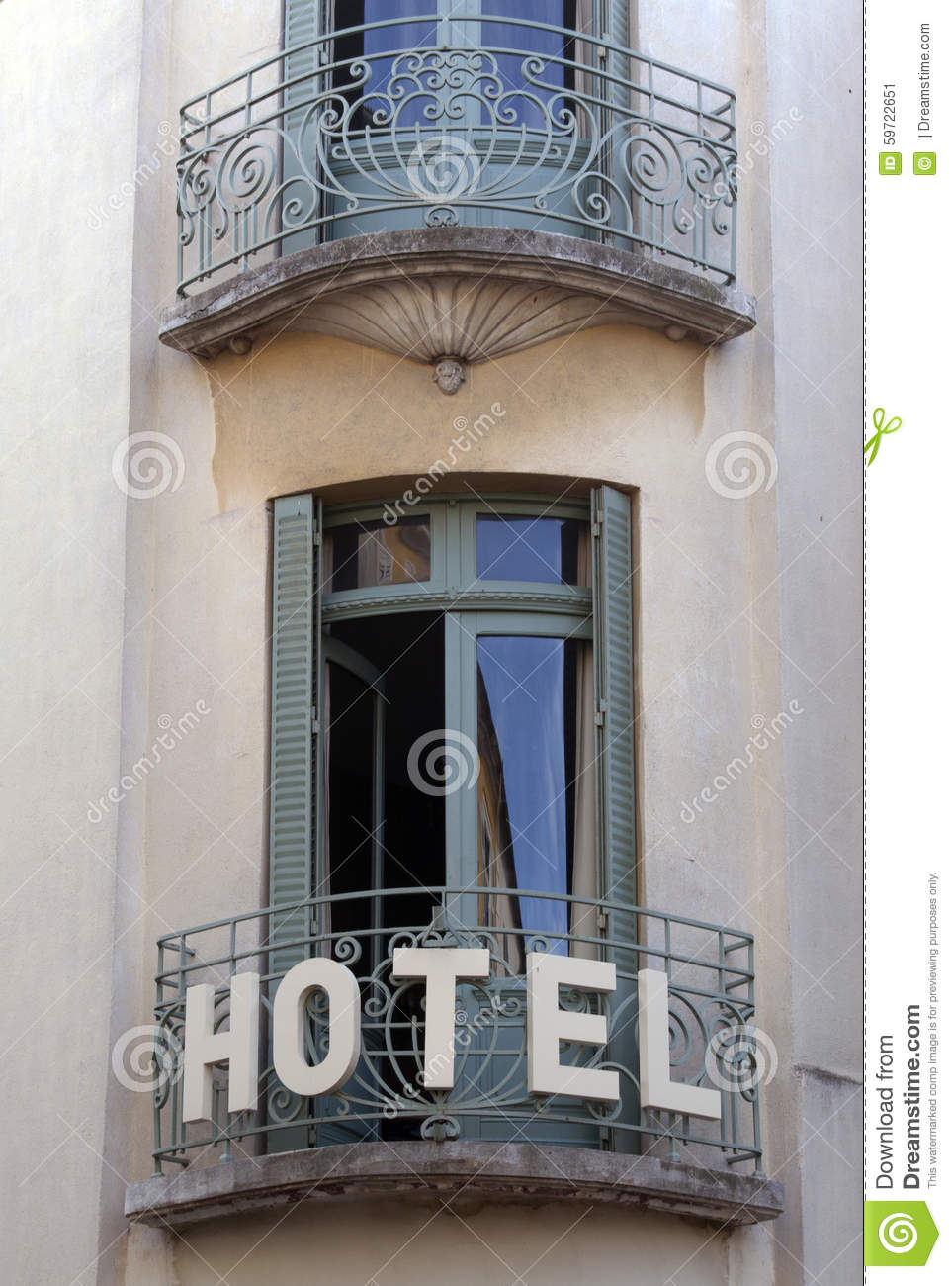 French hotel with balcony and doors in paris france for Balcony french