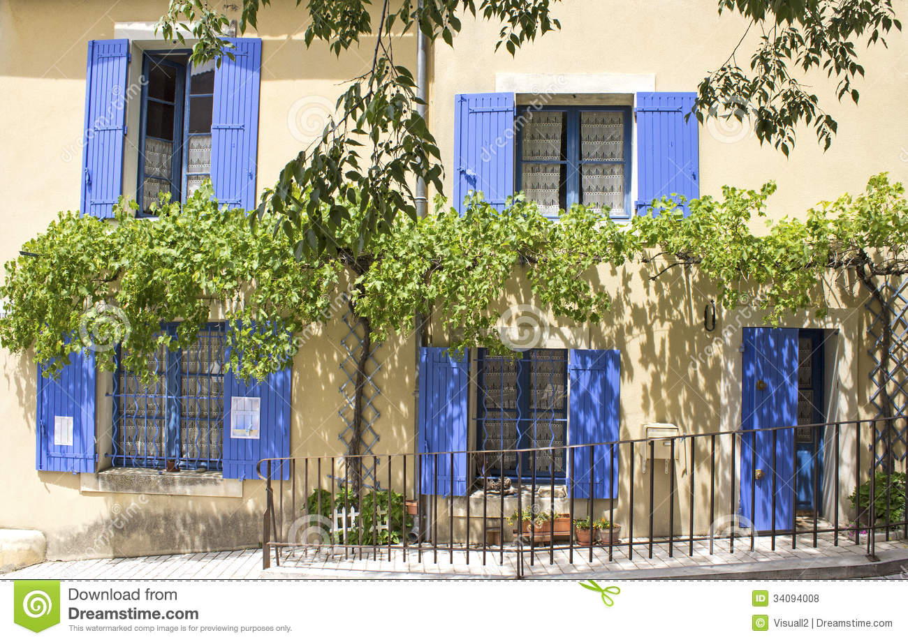 Royalty Free Stock Photos French House Blue Shutter Provence Town Green Tree Image34094008 on Traditional Southern Home House Plans