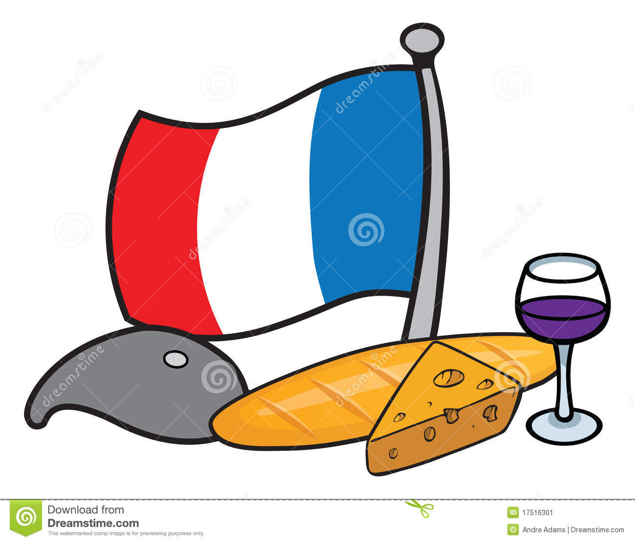french icons stock vector illustration of vector baguette 17516301 rh dreamstime com French Cuisine Clip Art French Cuisine Clip Art