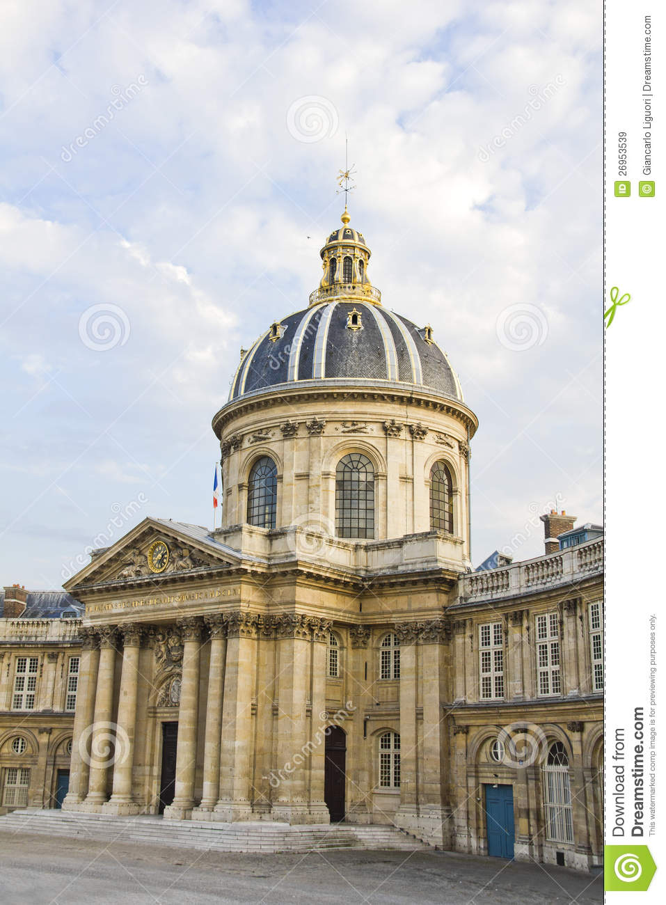 french institute institut de france paris stock image. Black Bedroom Furniture Sets. Home Design Ideas