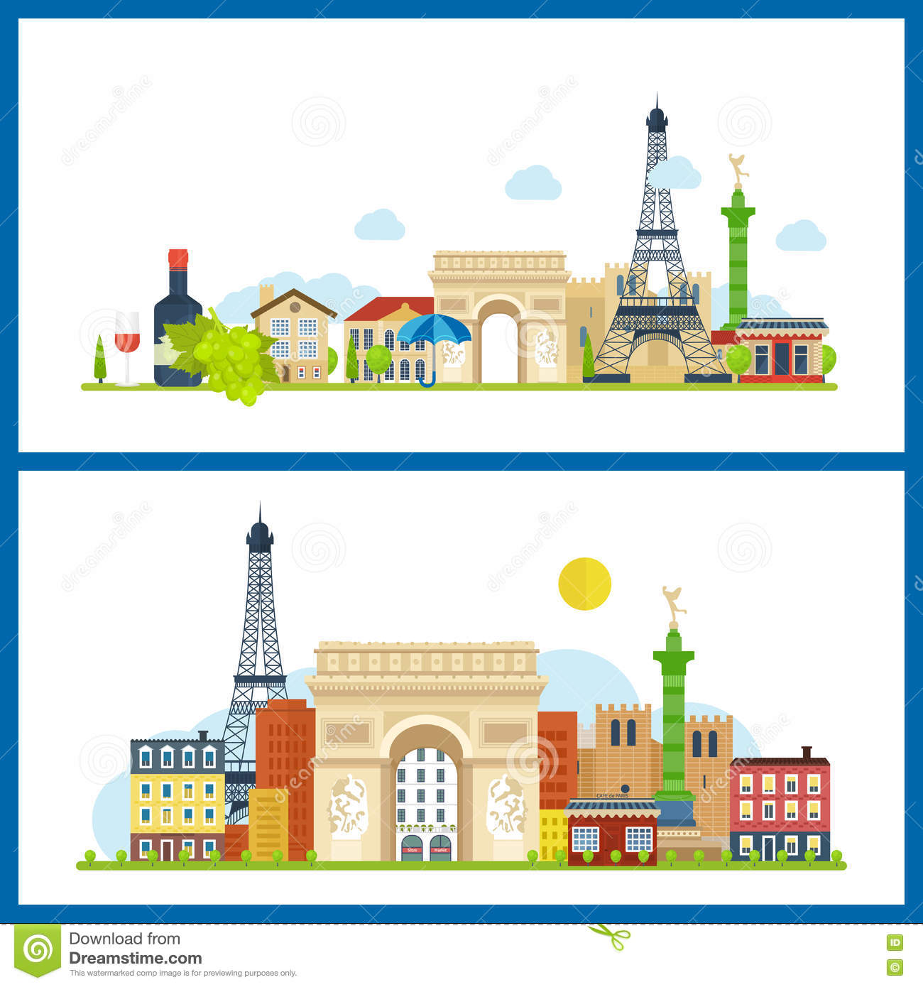 French Landmarks.. Eiffel tower, Notre Dame in Paris, France