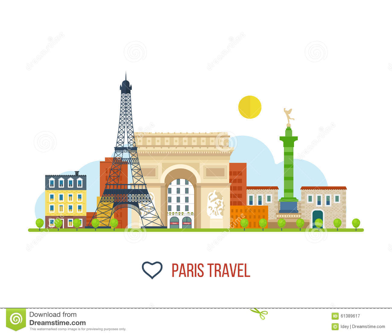 French Landmarks.. Eiffel tower, Notre Dame in