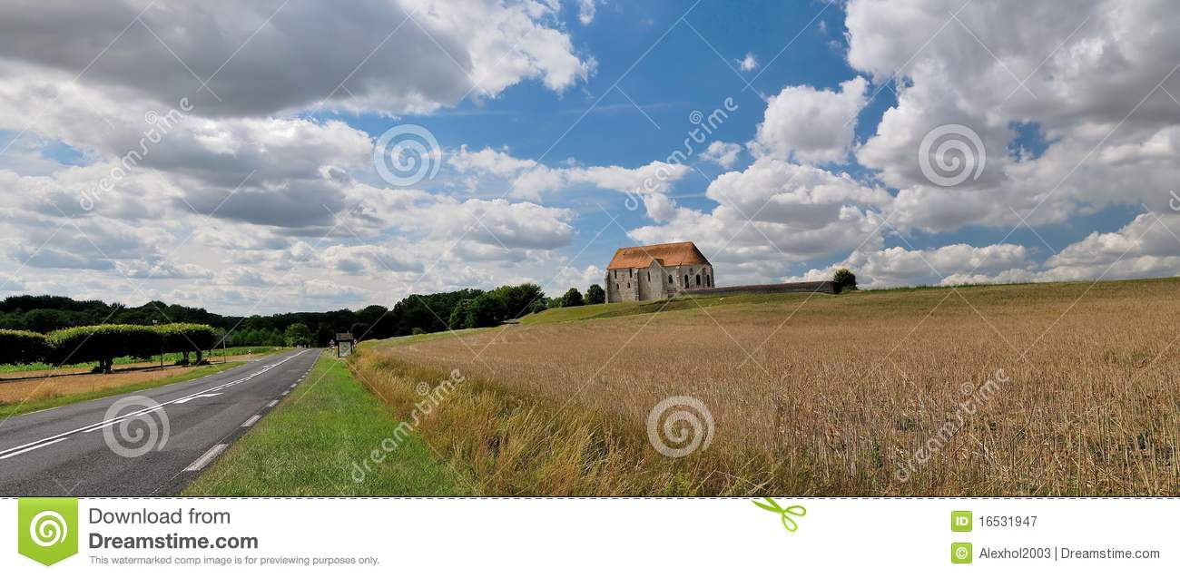 The French landscape with rural church.