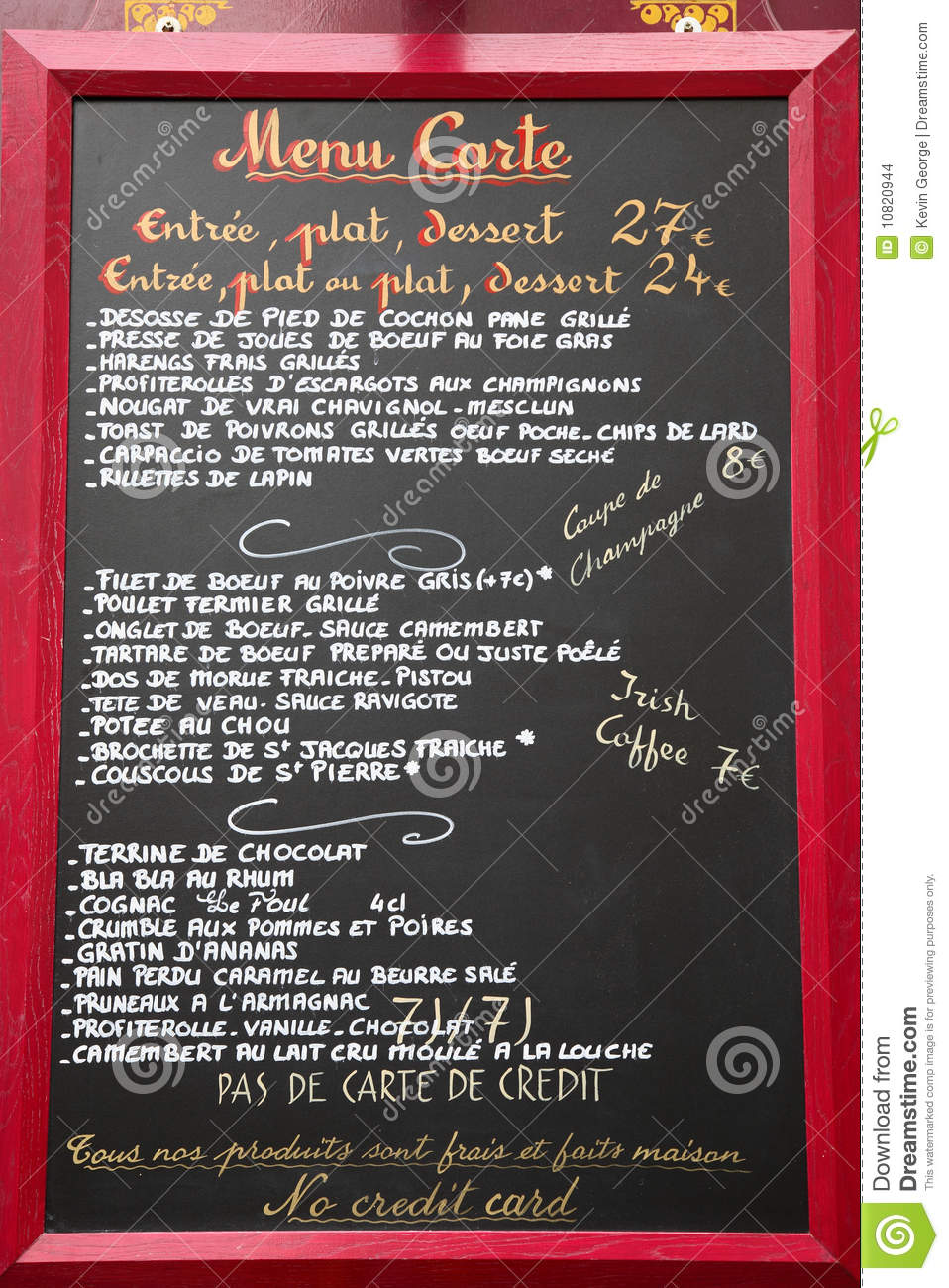 French Cafe Menu In France