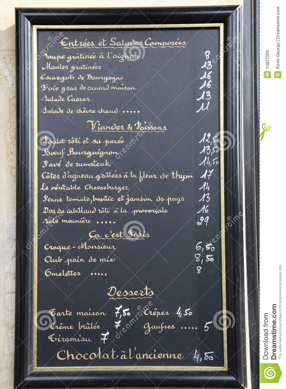 french language menu  paris  france royalty free stock