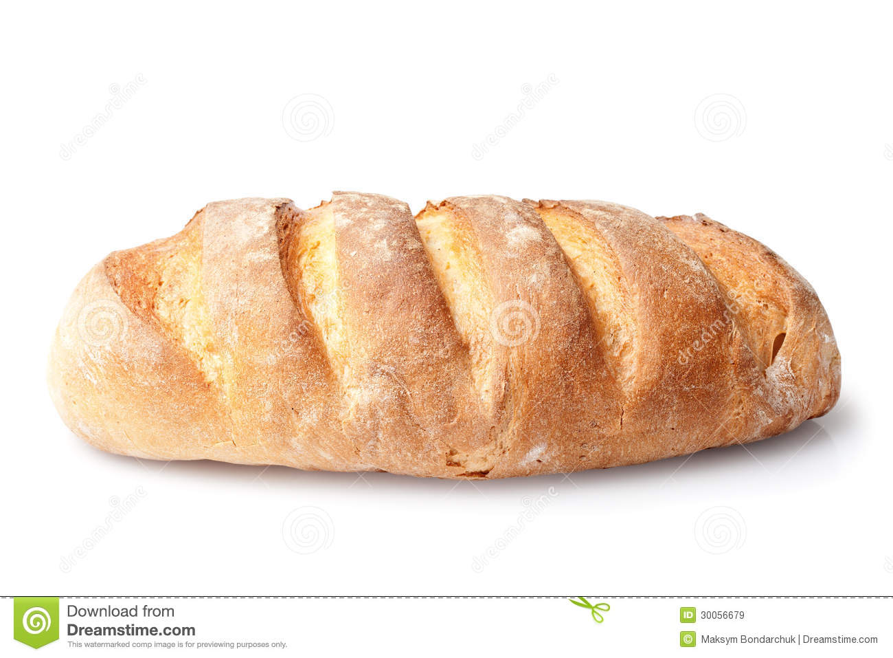 French Loaf Bread Isolated On White Royalty Free Stock