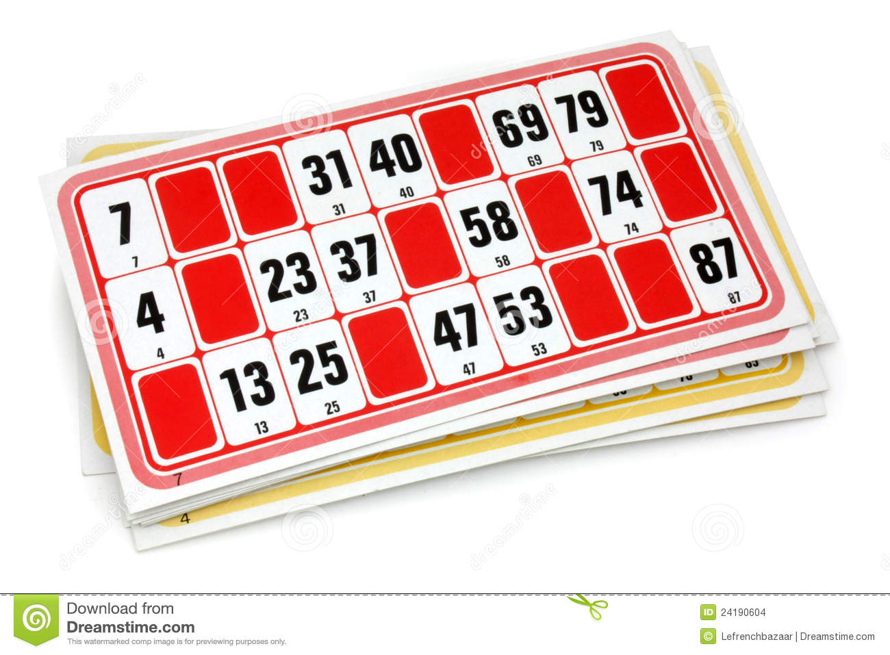French Loto Game Cardboards Stock Images - Image: 24190604