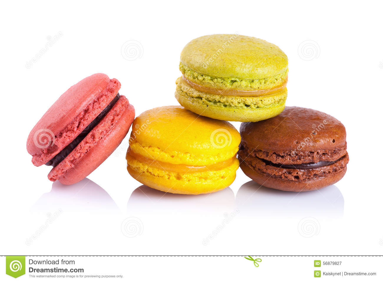 French macaroons on a white background