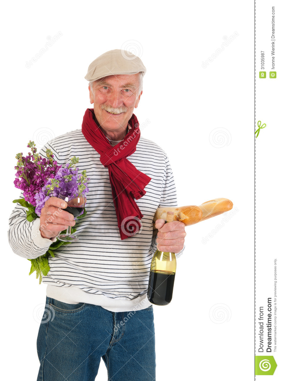 French Man With Bread And Wine Royalty Free Stock