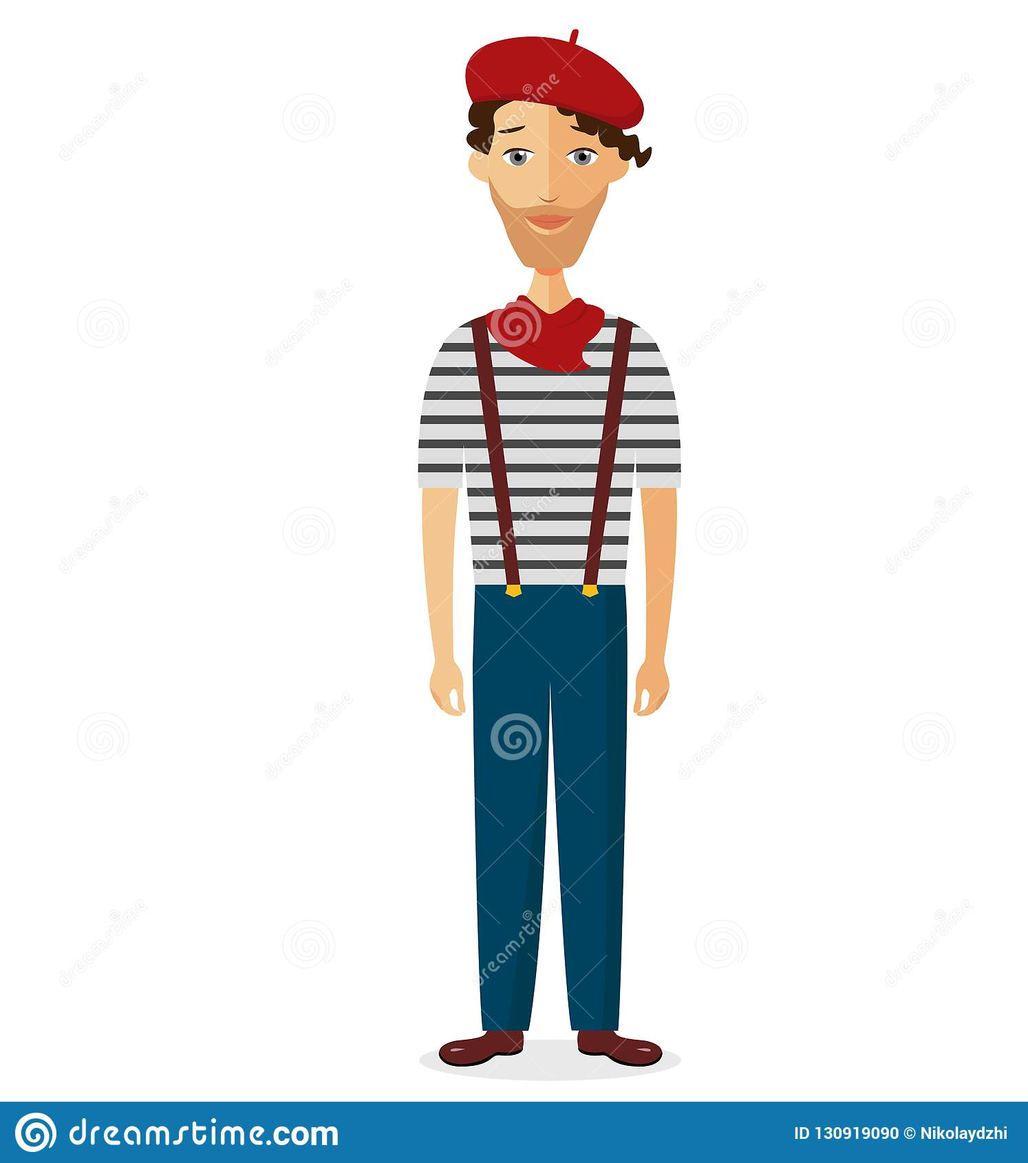 French Man In Striped Shirt, Beret Flat Cartoon Vector ...