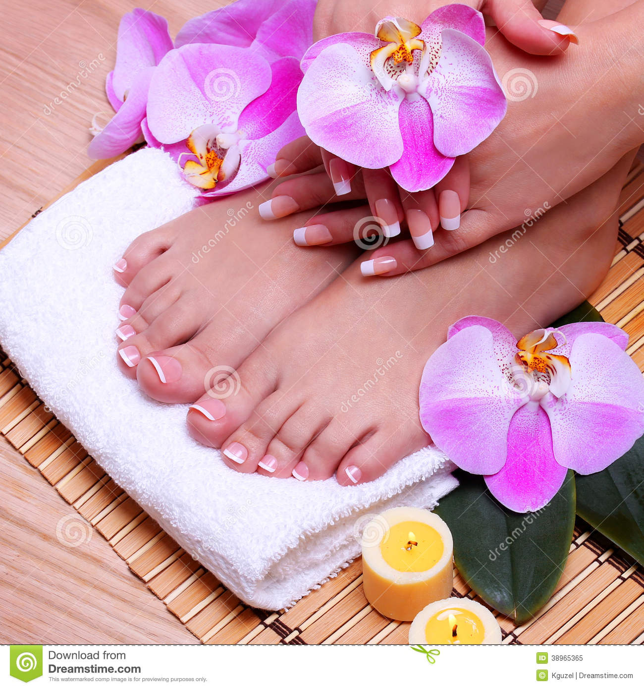 French Manicure on Beautiful Female Feet and Hands