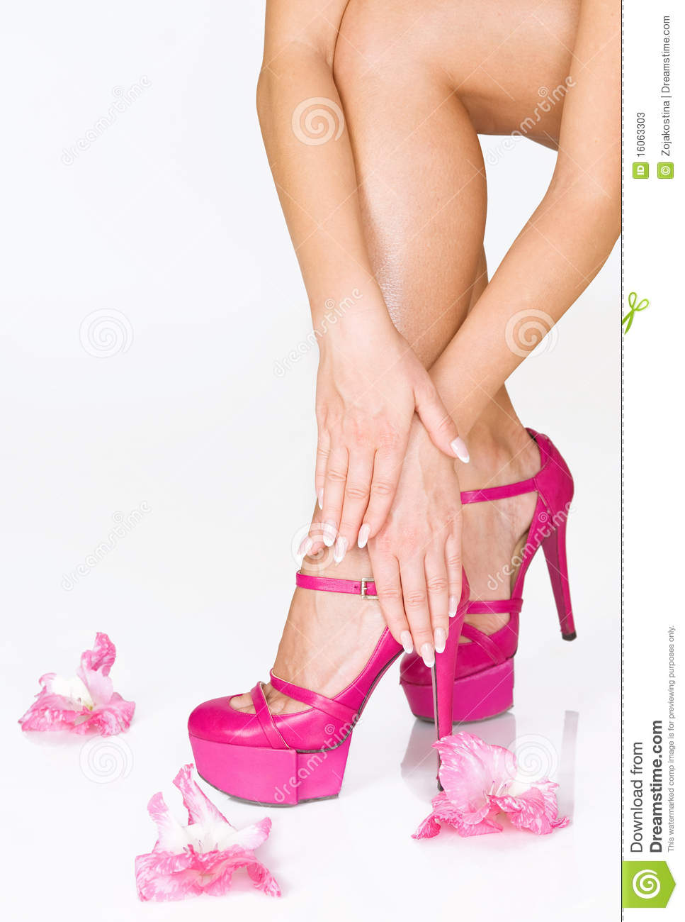 French Manicure High Heels And Pink Flowers Stock Image Image Of