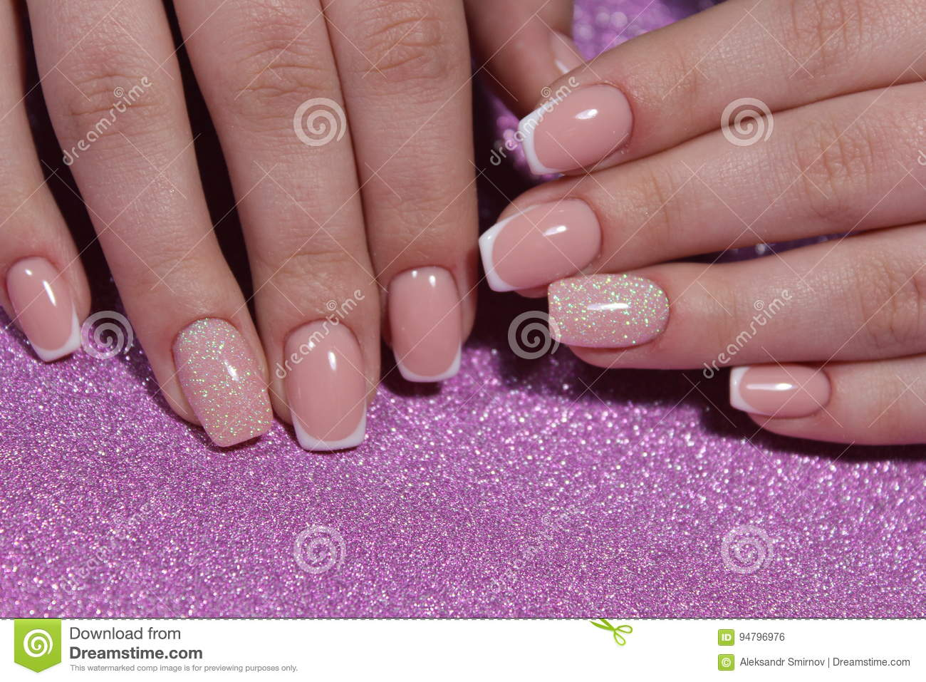 French Manicure Nail Design Stock Photo Image Of French Girl