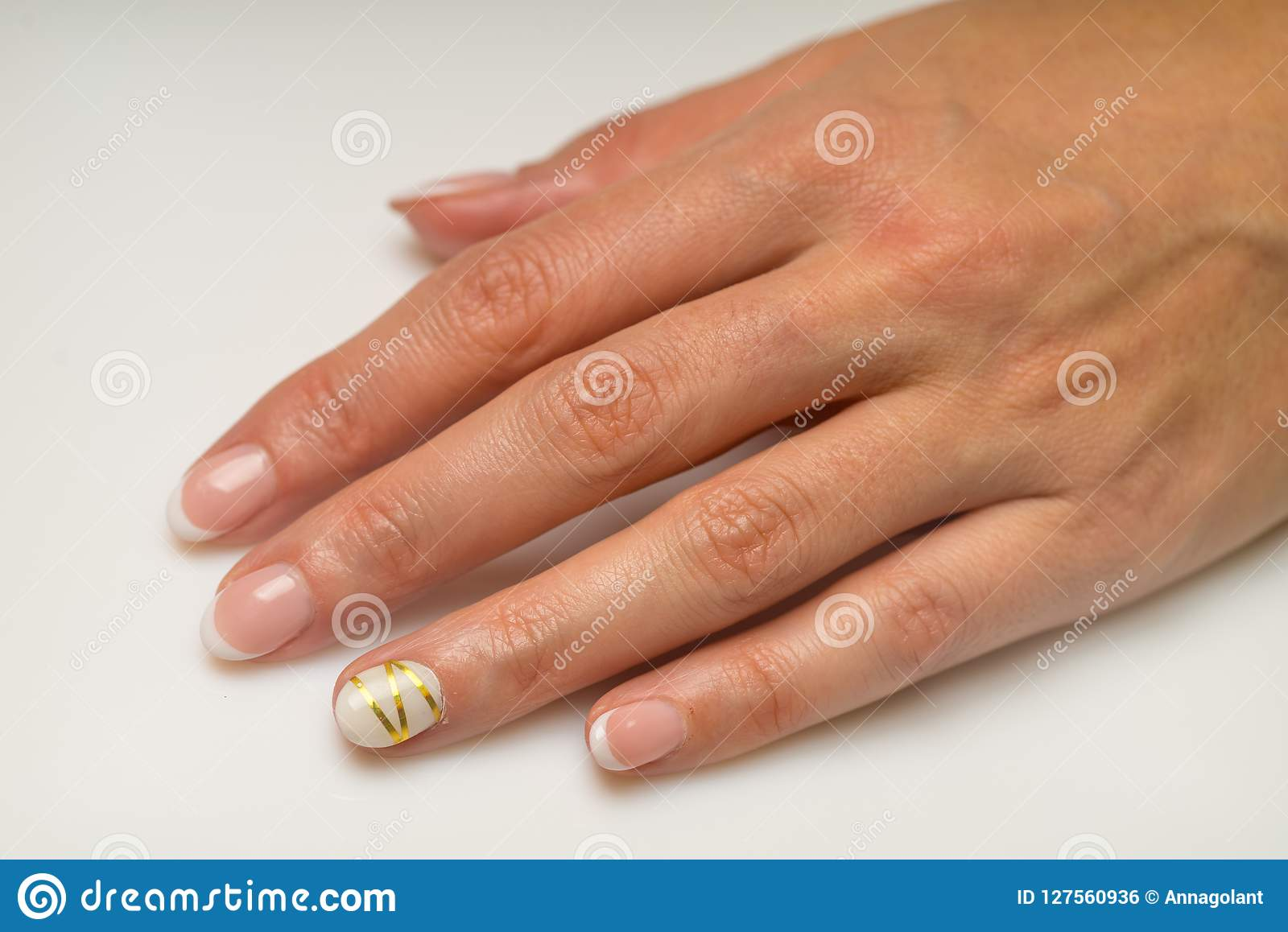 French Manicure And Nail Gel Polish. Young, Perfect, Groomed Woman`s ...