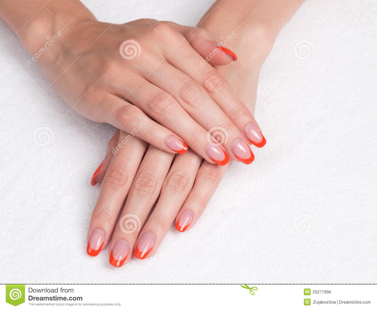 French Manicure With Orange Tips Royalty Free Stock Image ...