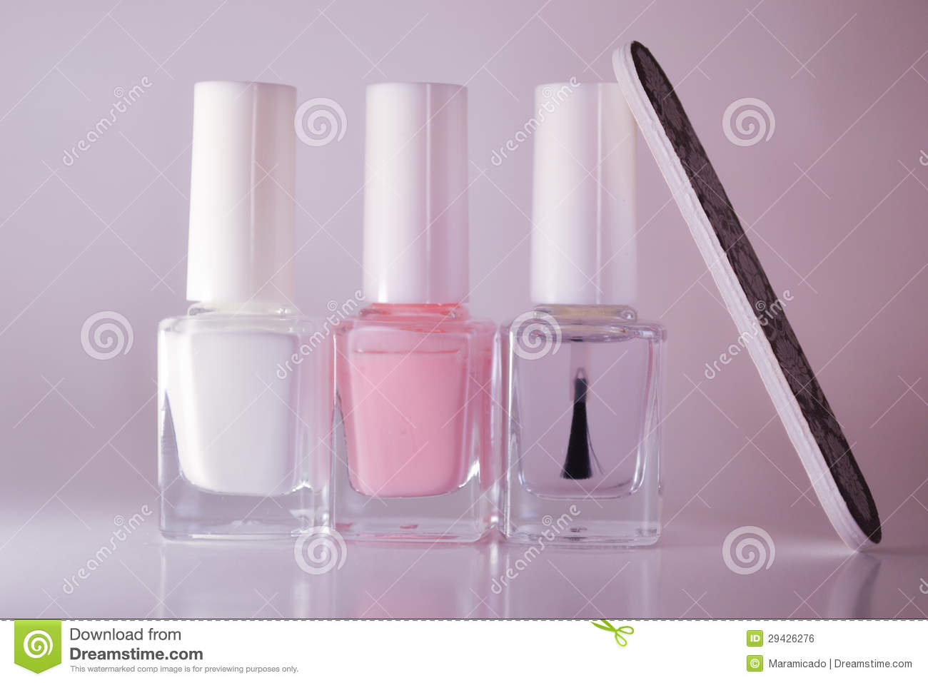 French Manicure Set Of Nail Polish Isolated On White. Stock Photo ...