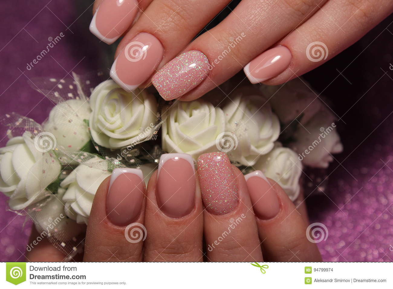 French Manicure Wedding Design Stock Photo Image Of Hand Flower