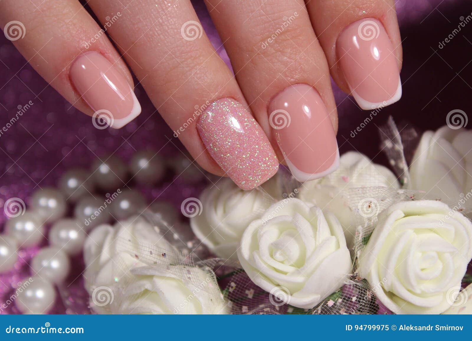 French Manicure Wedding Design Stock Image - Image of holding ...