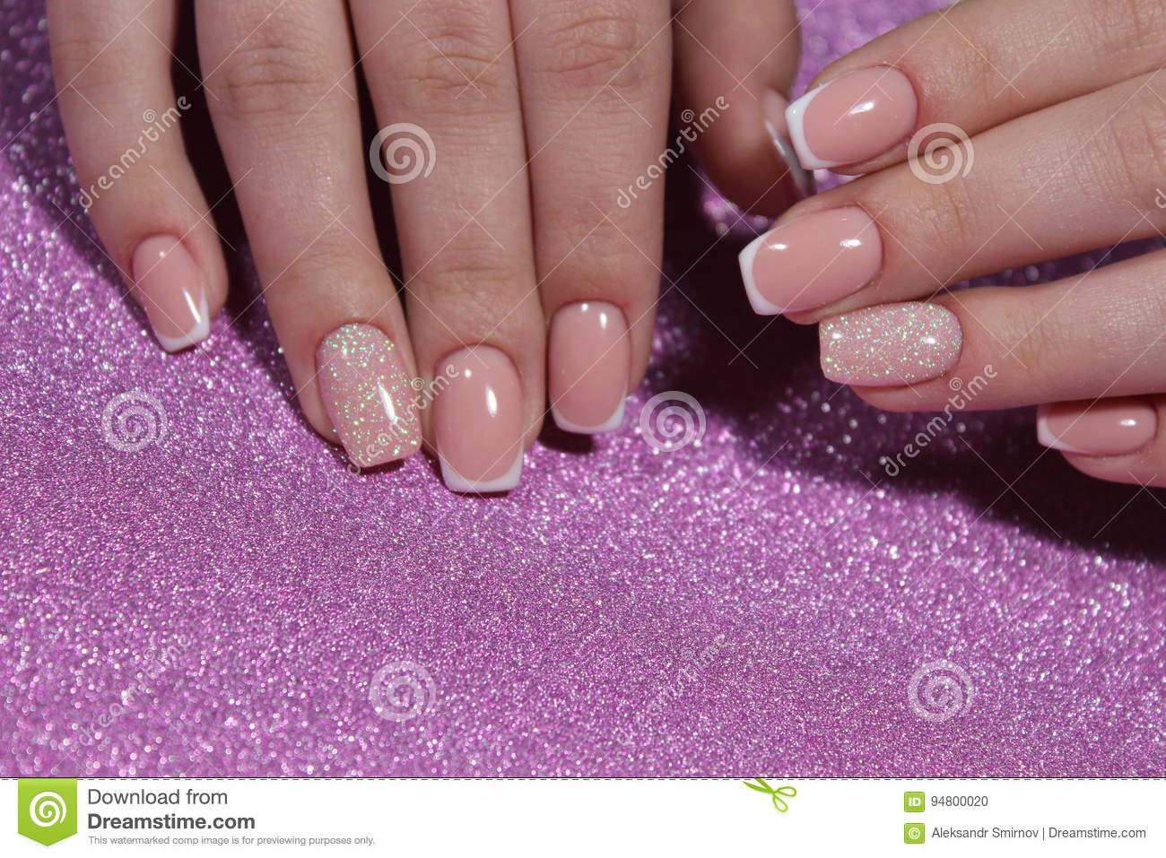 French Manicure Wedding Design Stock Photo Image Of Girl Fashion