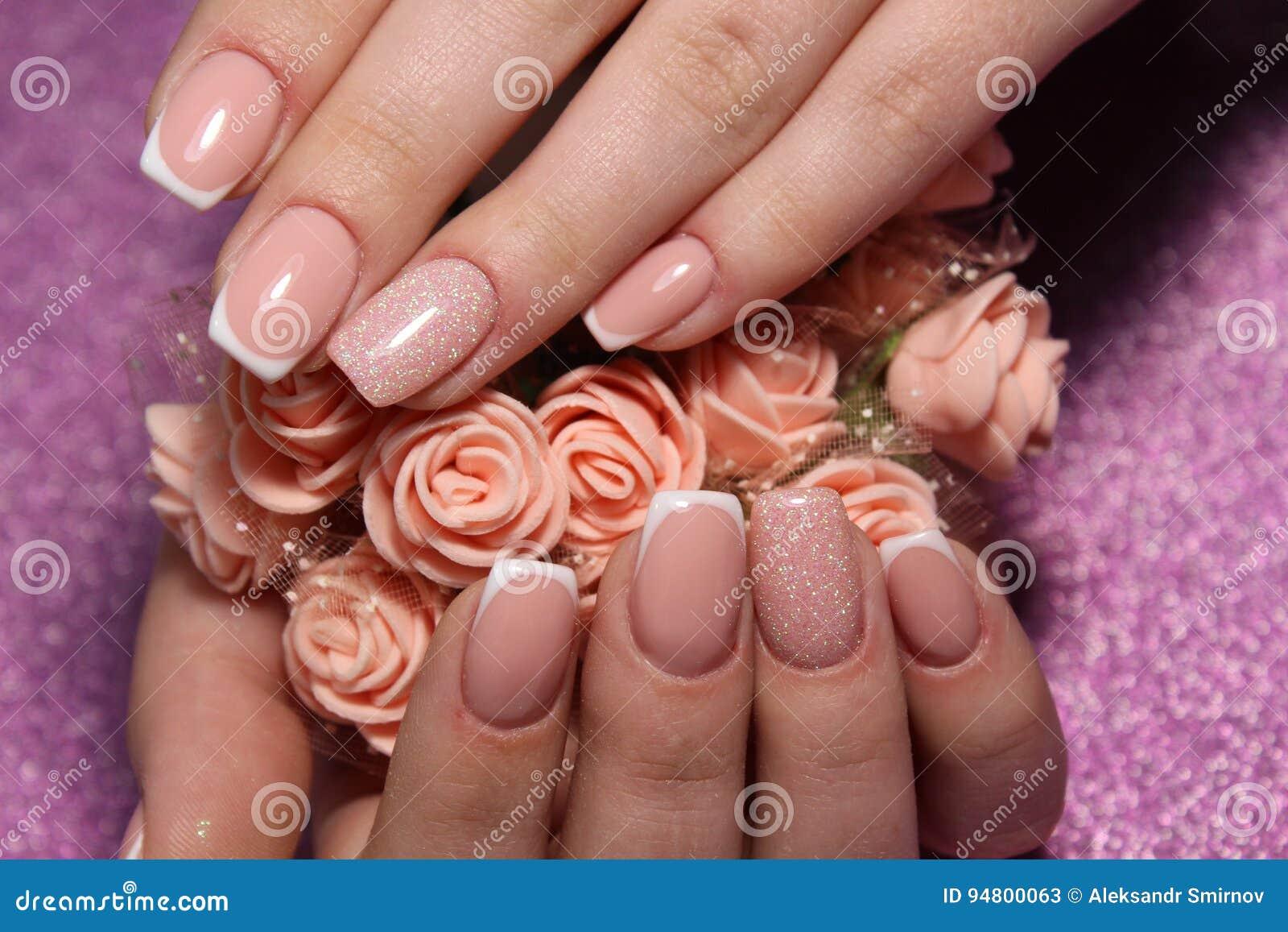 French Manicure Wedding Design Stock Image - Image of manicure ...