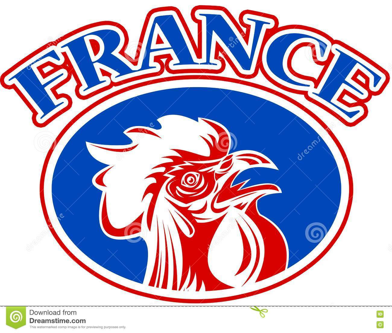 French Mascot Rooster France Stock Illustration