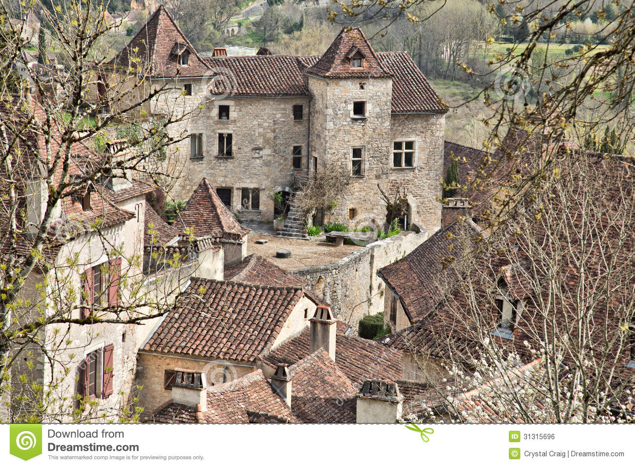 French Medieval Courtyard Stock Photo Image Of Quaint