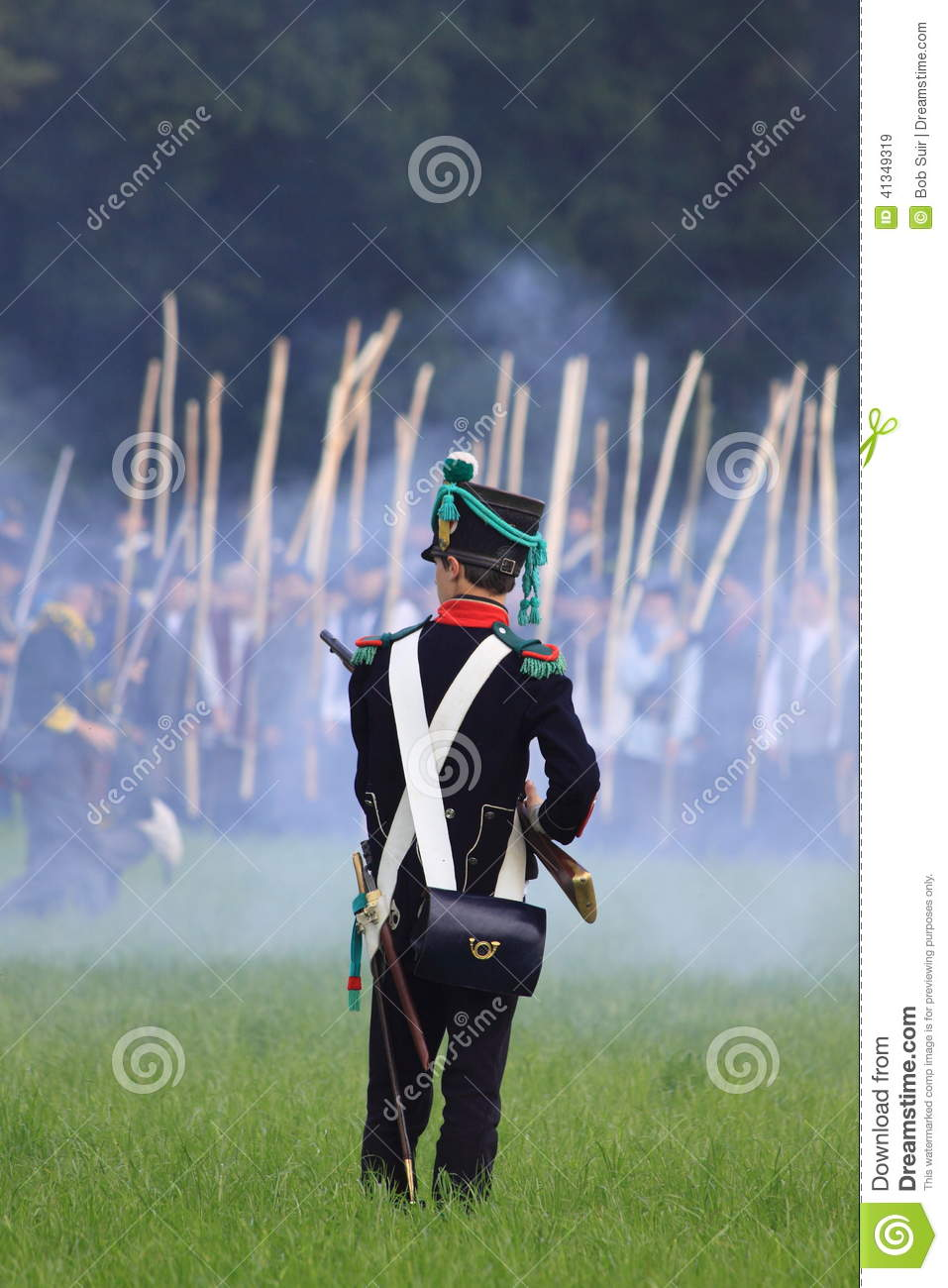 French medieval soldier on the battlefield