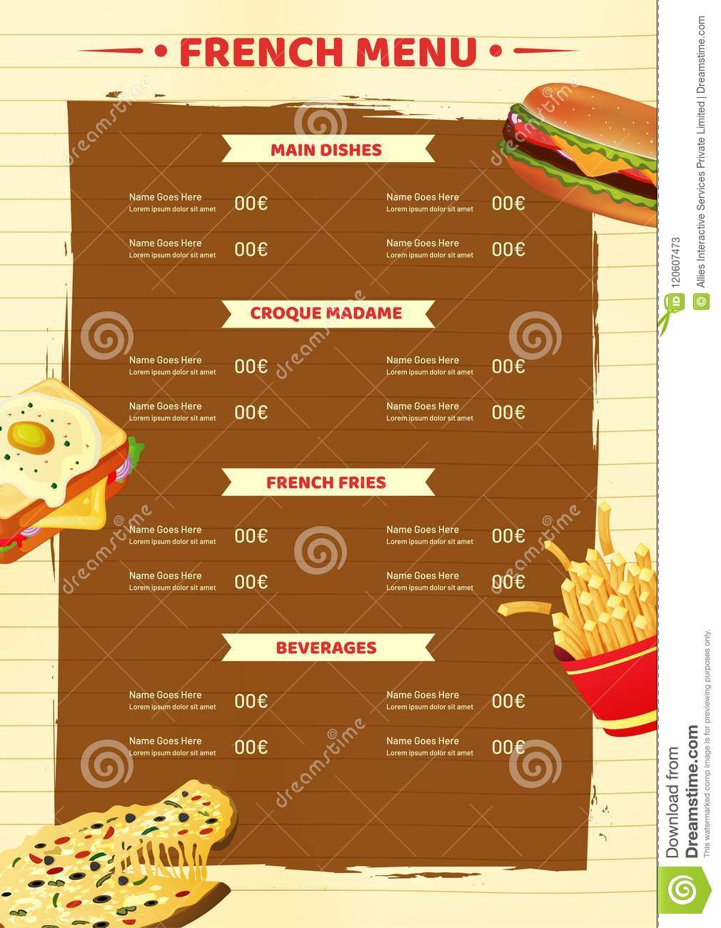 french menu card template or flyer design stock illustration
