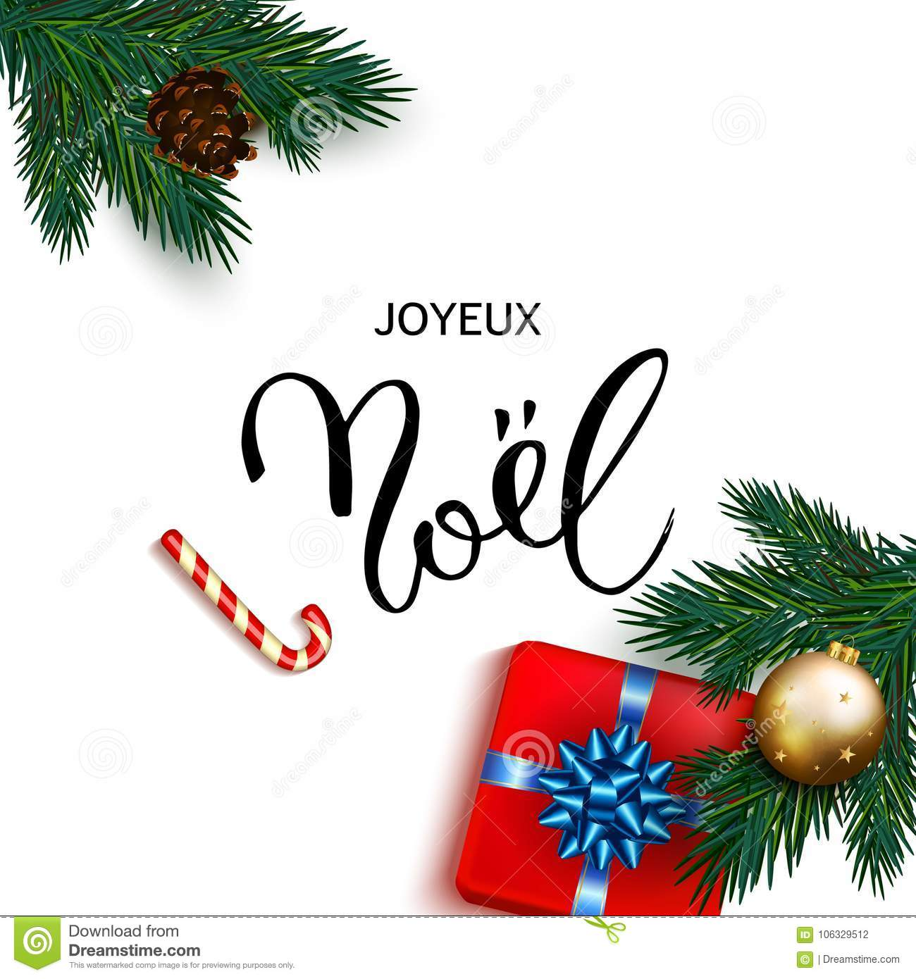 French Merry Christmas Joyeux Noel Greeting Card With Box Gifts ...