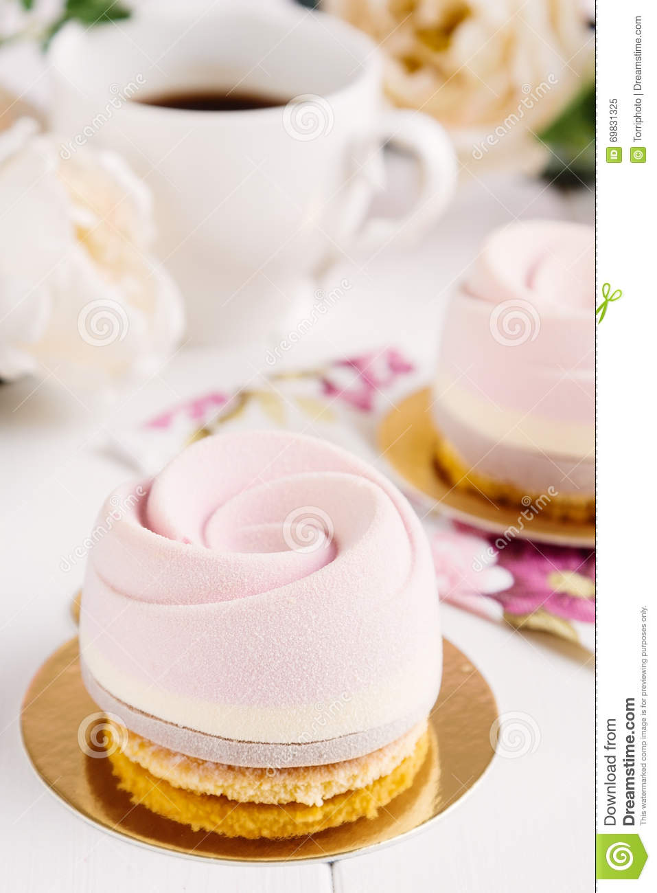 French mousse entremet with pink cocoa velour stock photo - Mousse decoration ...