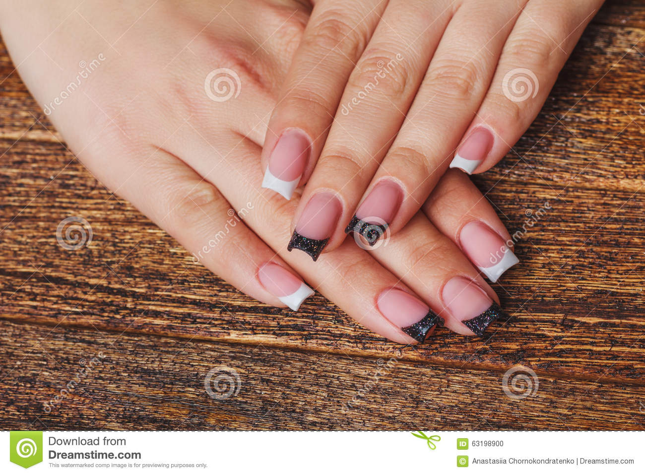 French Nail Art In Black And White Color Stock Photo Image Of