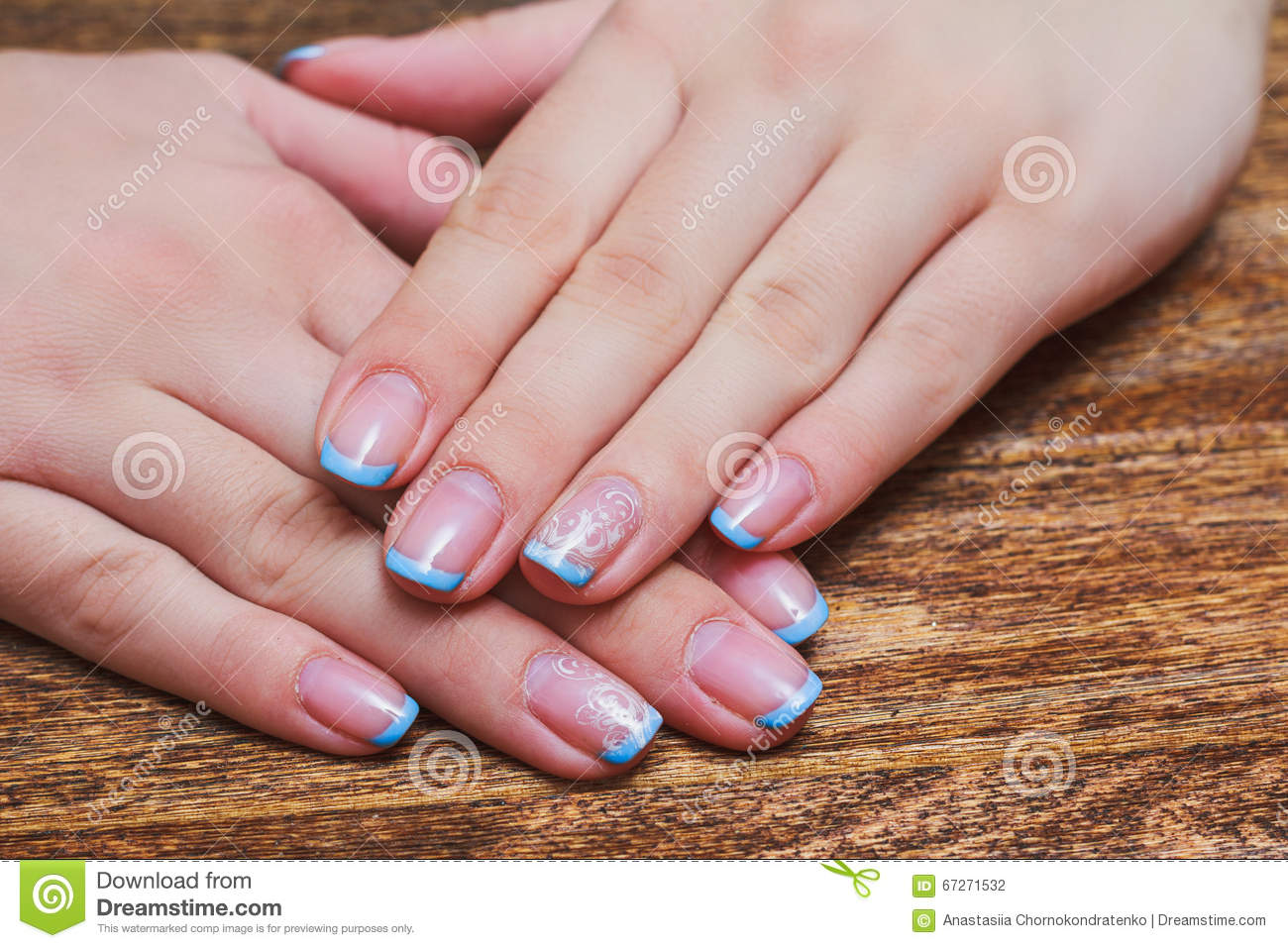 French Nail Art In Light Blue Color Stock Photo - Image of line ...