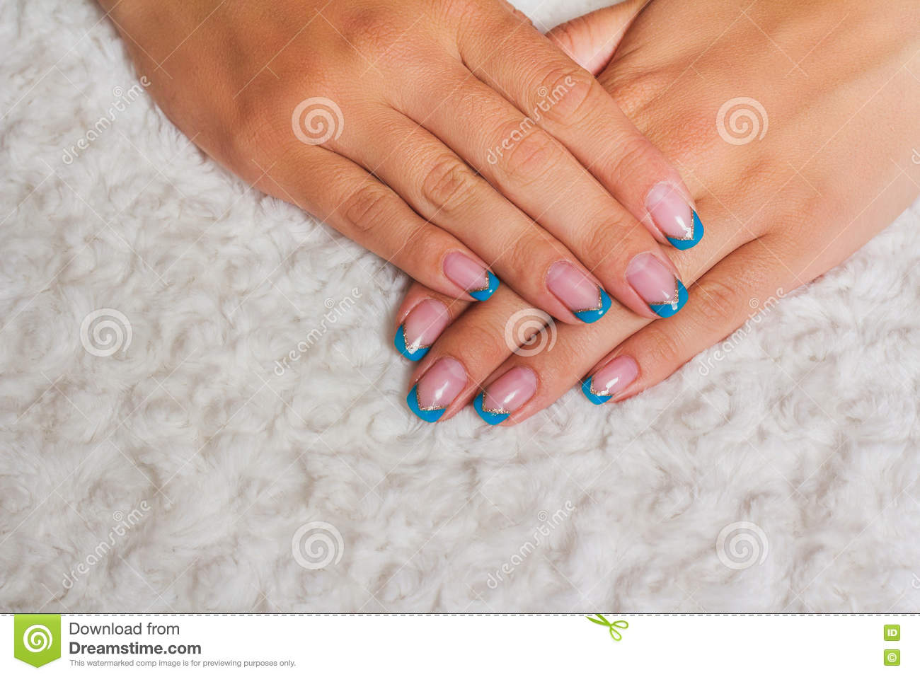 French Nail Art With Light Blue And Gold Lines Stock Photo Image