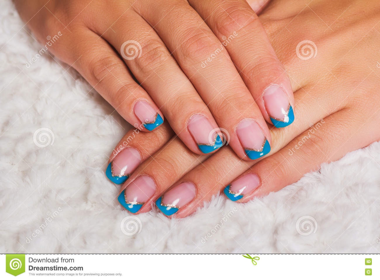 French Nail Art With Light Blue And Gold Lines Stock Image Image