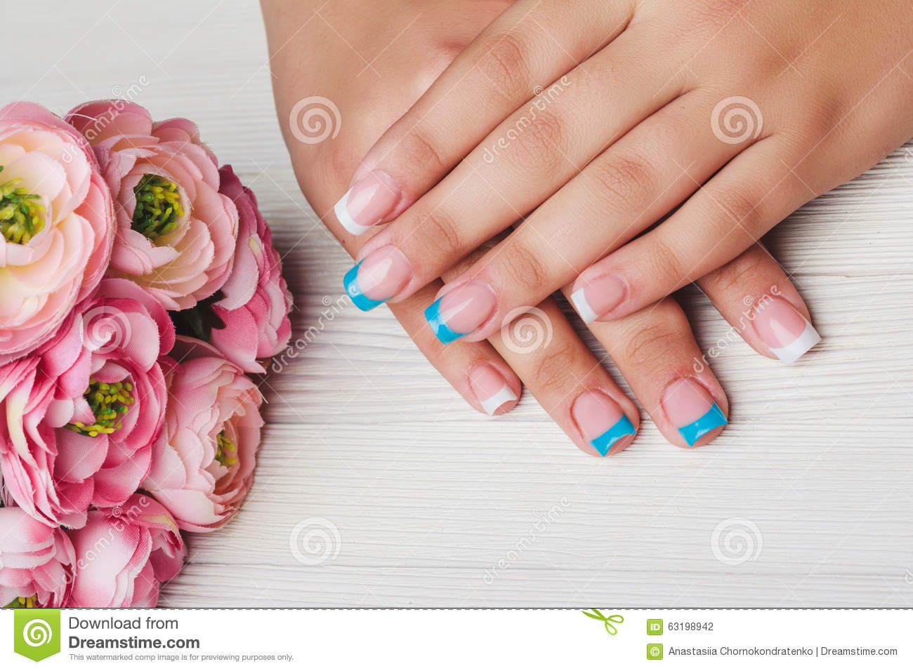 French Nail Art In Light Blue And White Color Stock Photo Image Of