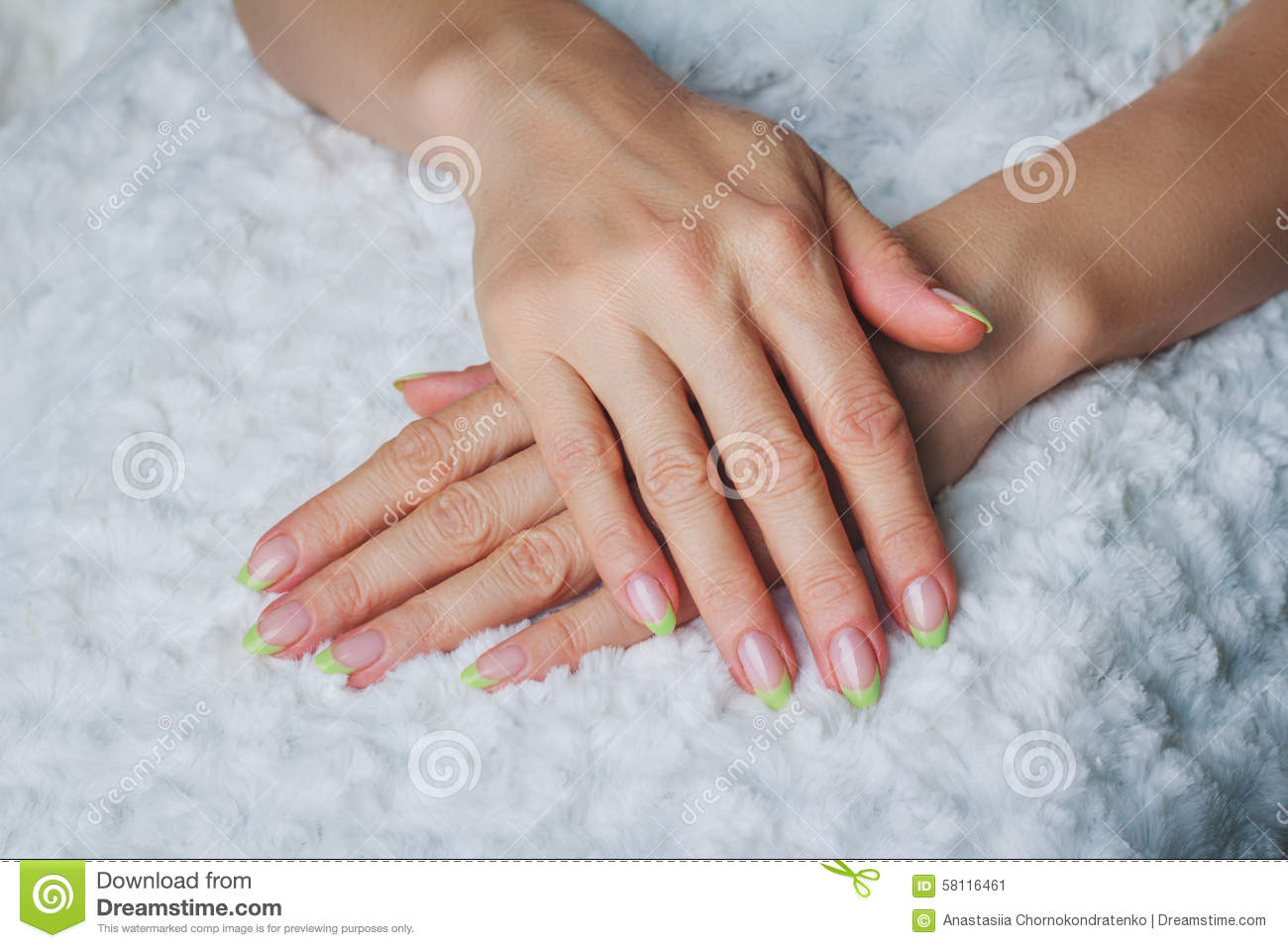 French Nail Art In Light Green Colour Stock Image Image Of