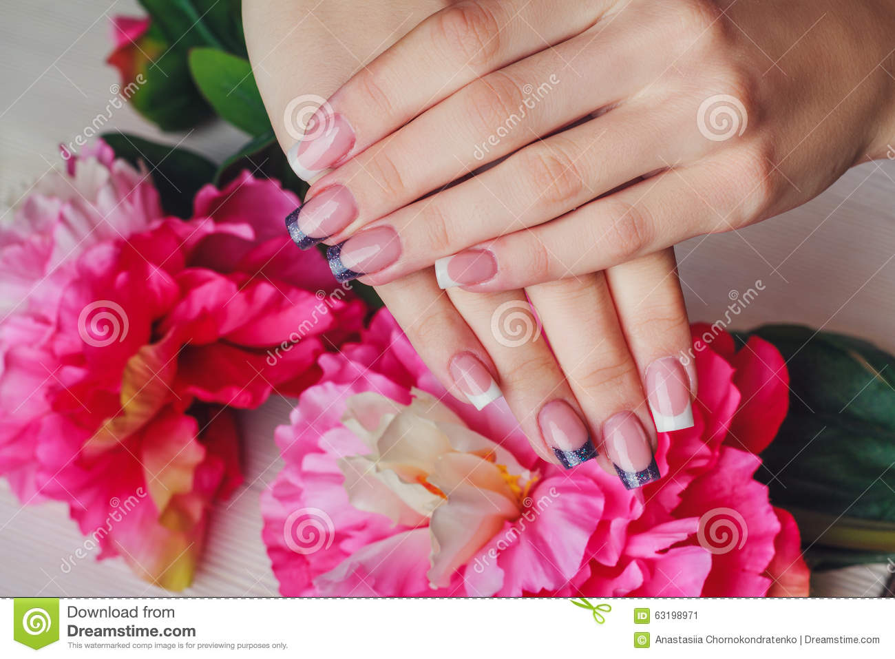 French Nail Art In Purple Color Stock Image Image Of Femininity