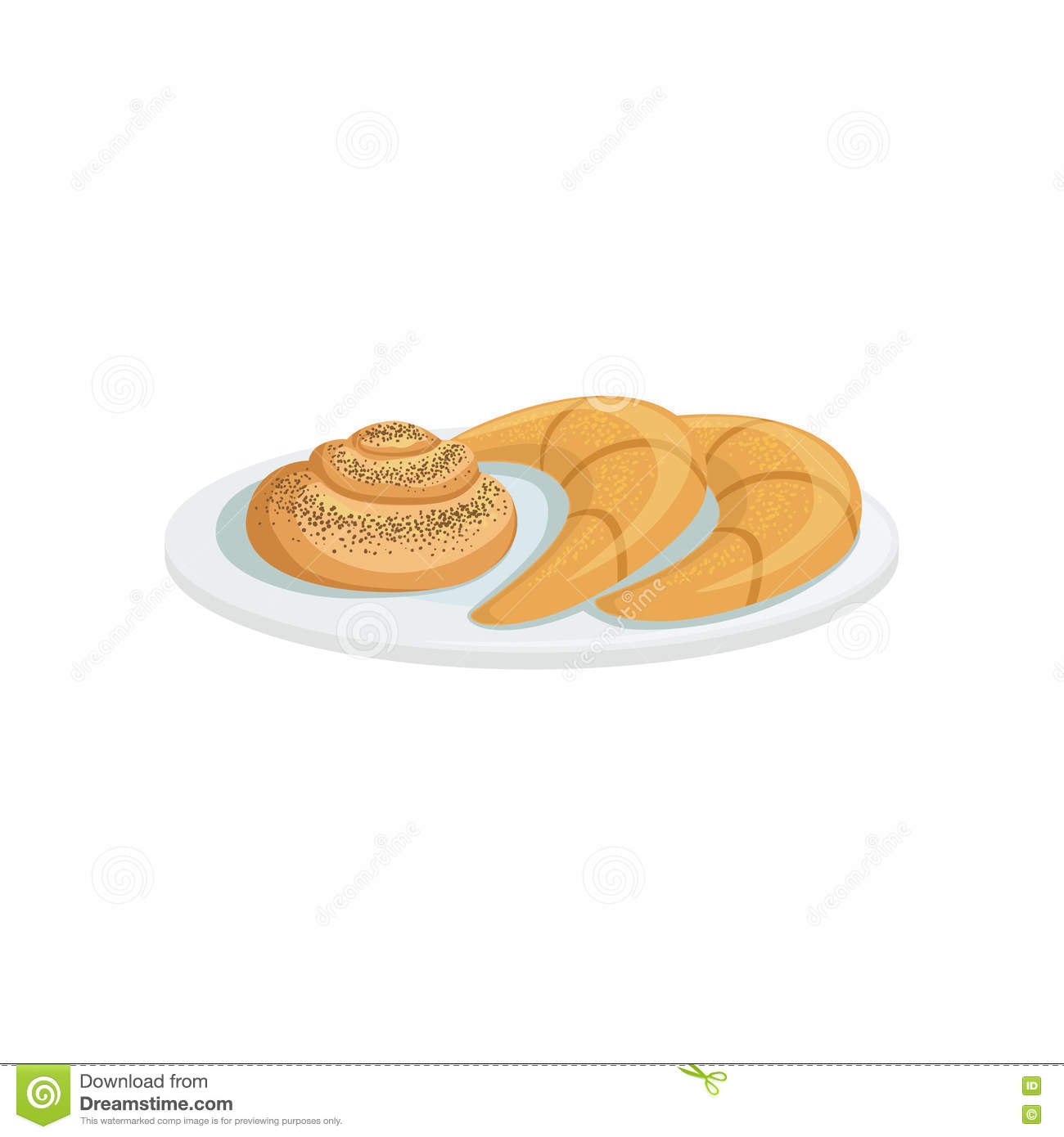 french pastry european cuisine food menu item detailed illustration