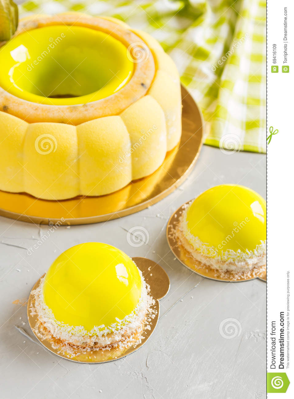 French Pastry With Yellow Mirror Glaze Stock Photo Image