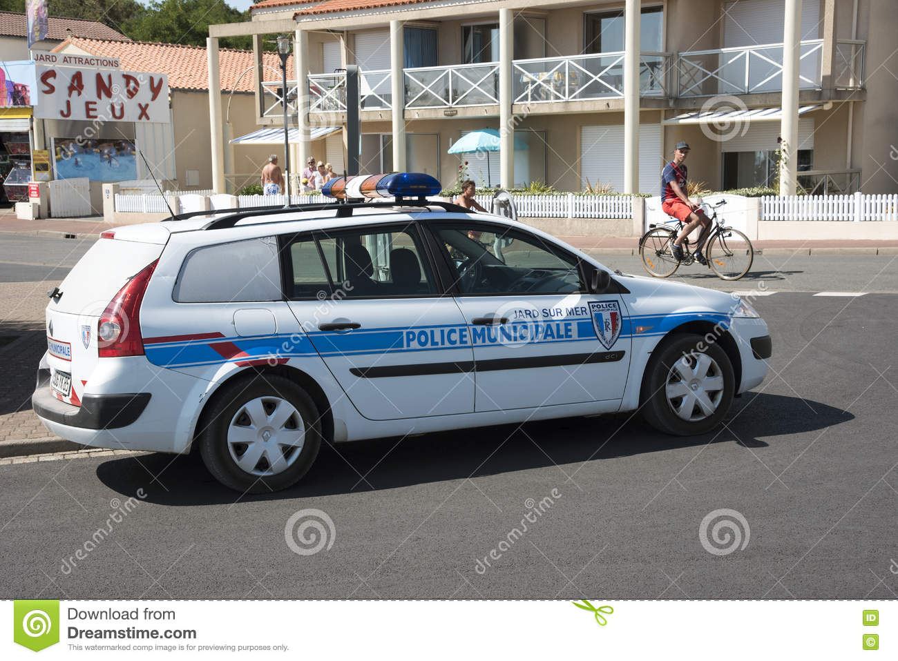 Cop Car Parked On Side Of The Road