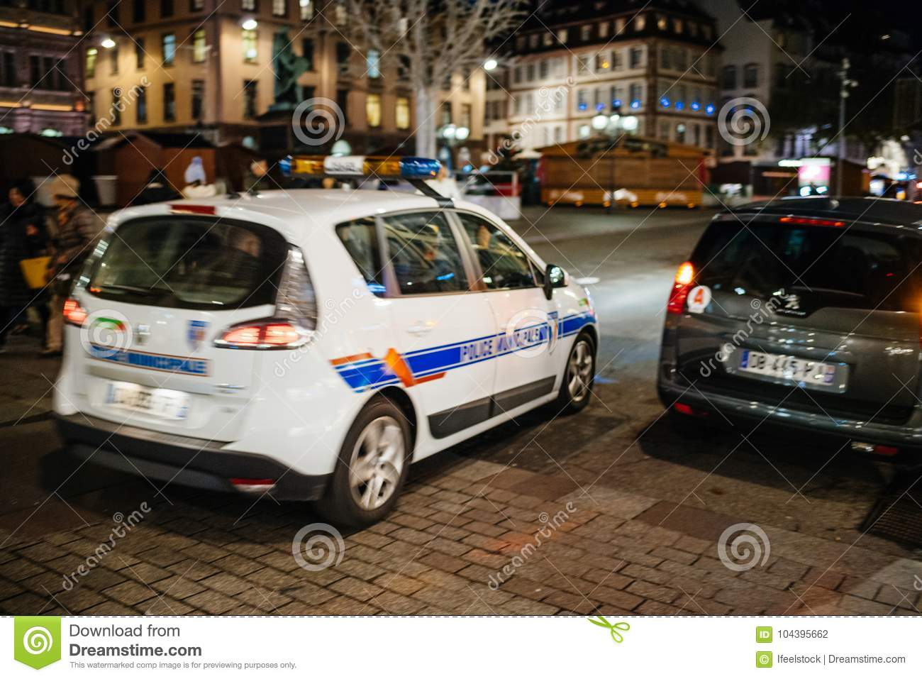 French Police Car Surveillance Of The Christmas Market Editorial
