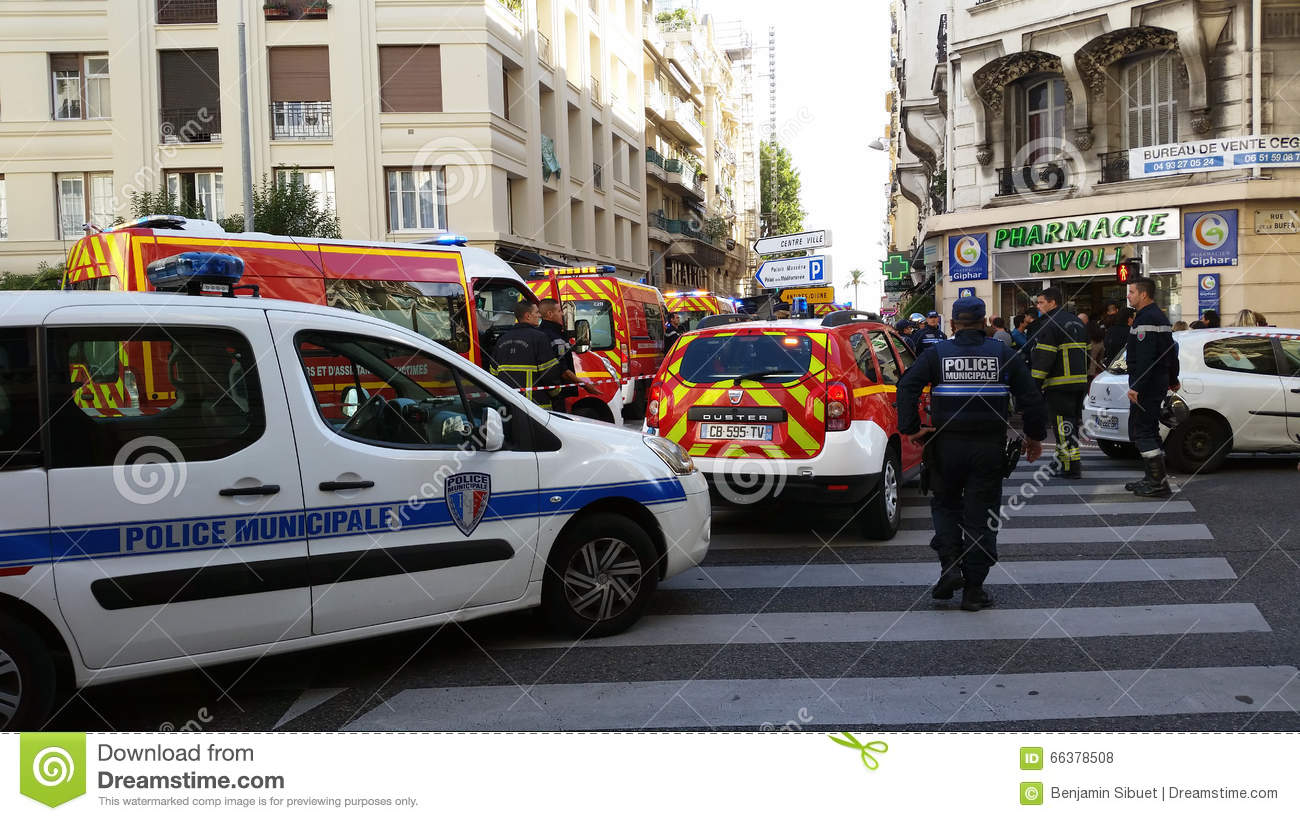 french police cars and firefighters trucks editorial stock photo image 66378508. Black Bedroom Furniture Sets. Home Design Ideas