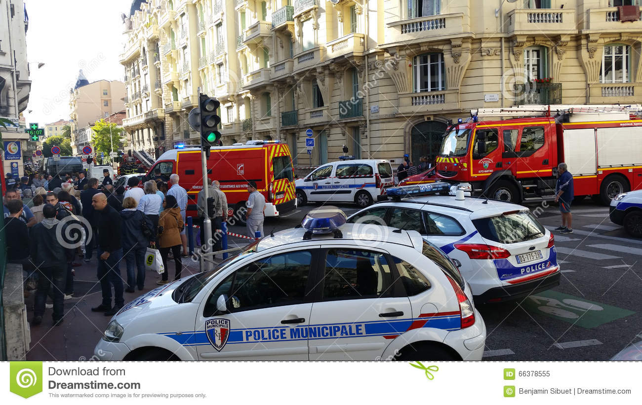 french police cars and firefighters trucks editorial image image of building public 66378555. Black Bedroom Furniture Sets. Home Design Ideas