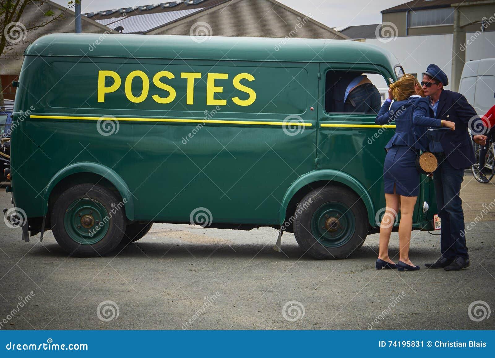 french postal service vintage van editorial photo image of classic driver 74195831. Black Bedroom Furniture Sets. Home Design Ideas