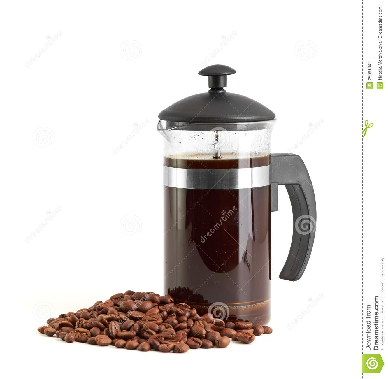 White French Press Coffee Maker : French Press Coffee Maker On White Background Royalty Free Stock Images - Image: 25981849