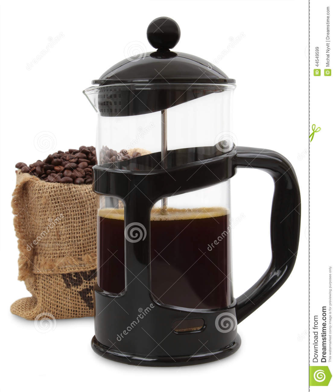 White French Press Coffee Maker : French Press Stock Photo - Image: 44549599