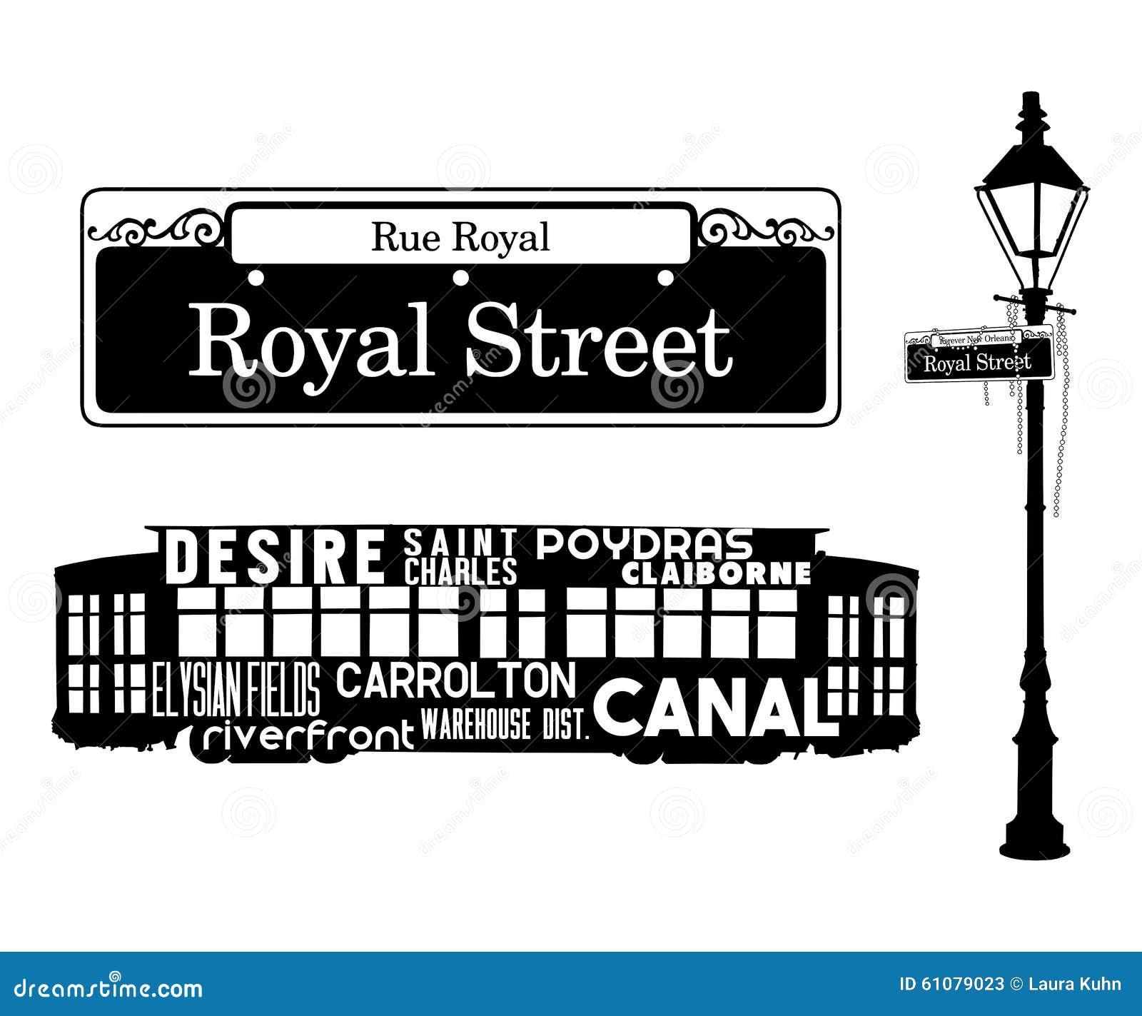 French Quarter New Orleans Icons Stock Illustration