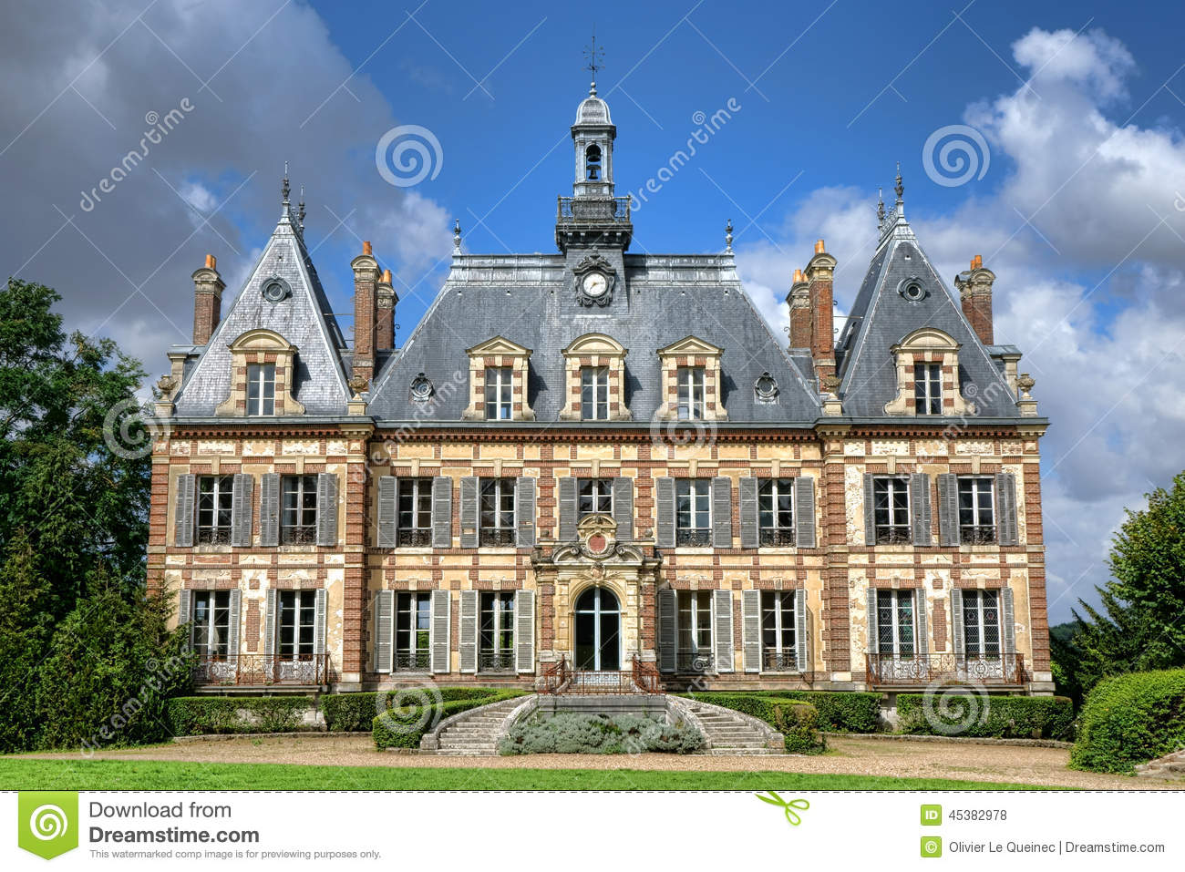 French Renaissance Revival Antique Mansion Castle Stock